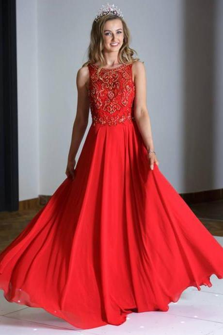 Beautiful Prom Dresses A-line Floor-length Flowly Long Sexy Prom Dress,P790
