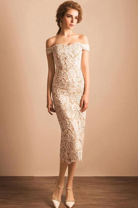Chic Prom Dresses Sheath/Column Off-the-shoulder Long Lace Prom Dress/Evening Dress ,P797