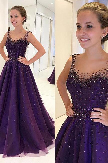PURPLE ROUND NECK TULLE BEADS LONG PROM DRESS, PURPLE EVENING DRESS,P810
