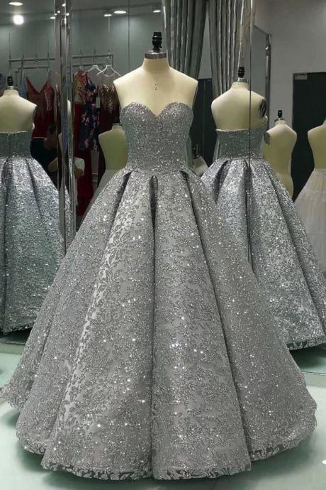 Sweetheart Prom Dresses,Gray Prom Dresses,Sleeveless Prom Dress,Long Ball Gown,Shiny Prom Dresses,Winter Formal Prom Dresses,Sequin Prom Dress,P830