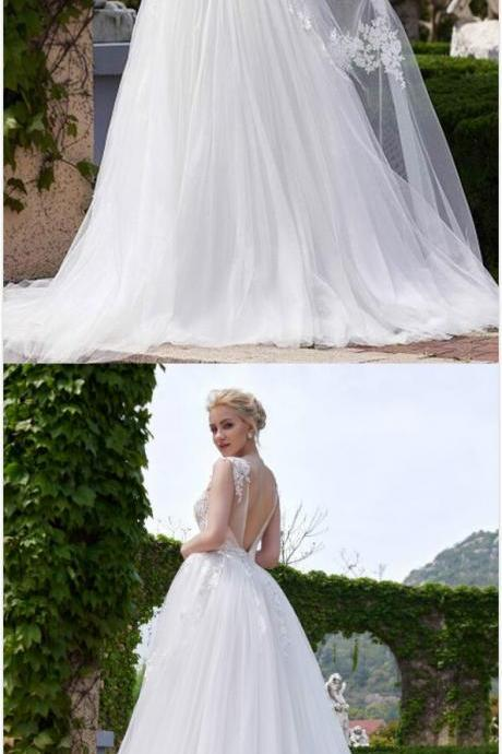 Sleeveless Wedding Dress, Sexy V-Back Bridal Dress, Long Wedding Dress, Tulle Wedding Dress, Applique Wedding Dress, Charming Wedding Dress,P832