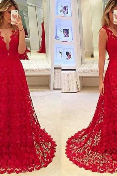Red prom dress,lace prom dresses,A line prom dresses,long prom dresses,prom dresses cheap,long dresses for prom ,P835