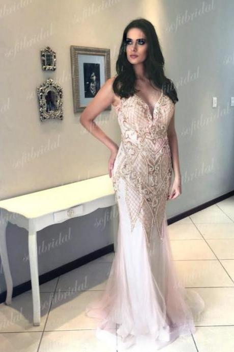 Light Pink Rhinestone Beaded Prom Dresses, Mermaid Tulle Prom Dress, Prom Dresses,P845