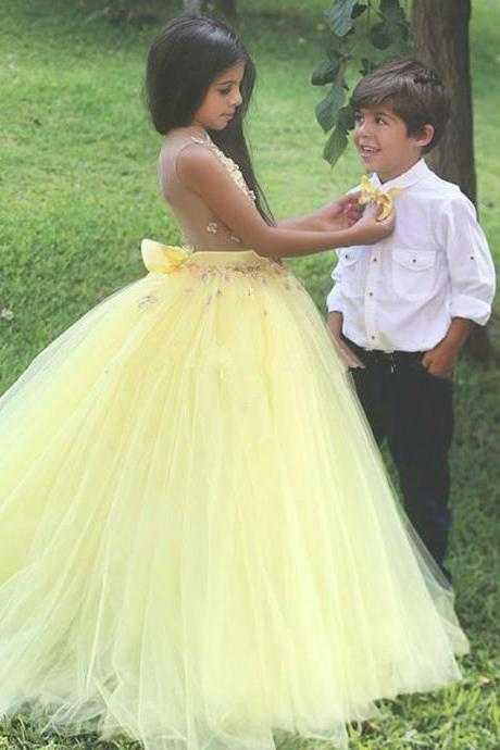 Beautiful Yellow Tulle Ball Gown Flower Girls Dresses for Party and Weddings 2018 Sheer Back Girls Formal Gowns Bow,FG 849