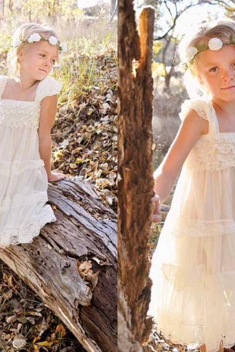 Flower Girl Dress Little Baby Girl Baptism Dress Tulle TuTu Infant Toddler Pageant Birthday Party Christening Junior WeddingIvory Lace Flower Girl Dress -Ivory Lace Baby Doll Dress/Rustic Flower Girl/-Vintage Wedding-Shabby Chic Flower Girl Dress-Vintage Sash,FG853
