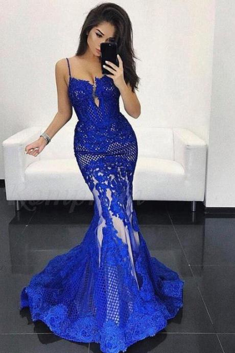 Mermaid Spaghetti Straps Sweep Train Royal Blue Lace Prom Dress,P865