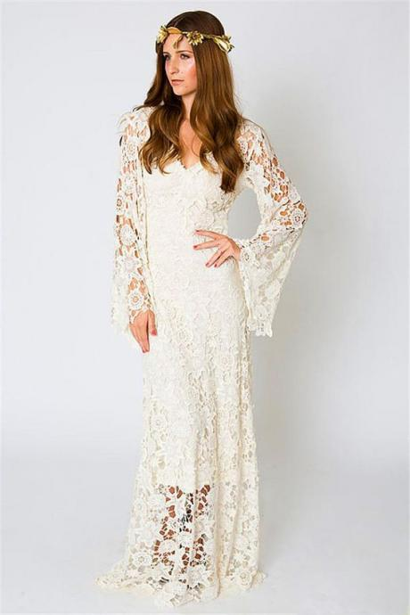 White V-Neckline Lace Long Wedding Dress with Bell Sleeves