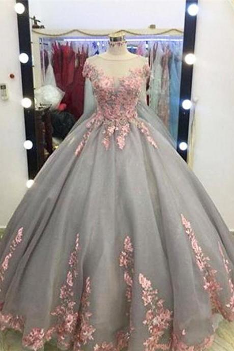 Unique grey organza long ball gown, grey formal evening dress,P871
