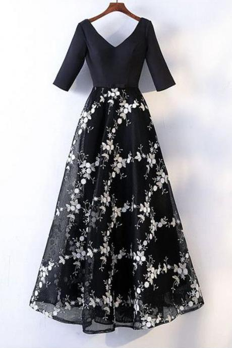 Special black floral chiffon V neck customize long spring party dress with sleeves,P880