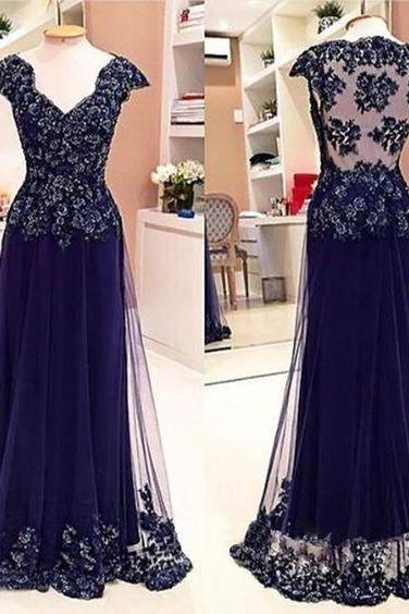 Cap Sleeve See Through Back Elegant Cheap Lace Sexy Long Prom Dresses,P885