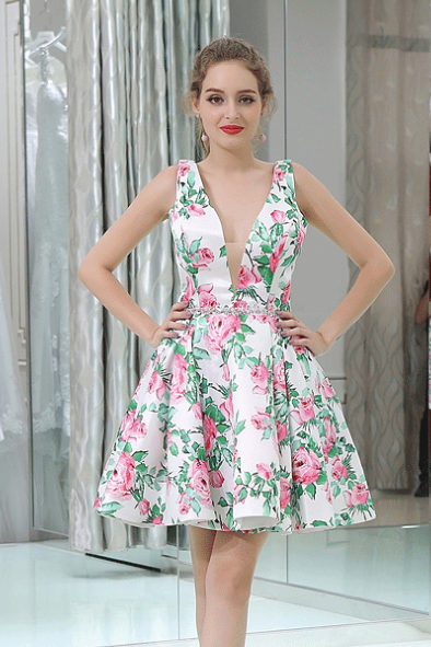 V-neck Homecoming Dresses,Print Floral Short Prom Dresses,PB056