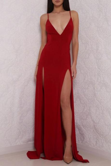 Red Deep V Neck High Slit Backless Formal Dress, Long Prom Dress,P933