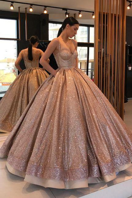 Elegant Sequins Ball Gown,Spaghetti Straps Prom Dresses,Evening Ball Gowns,Wedding Dresses,P960