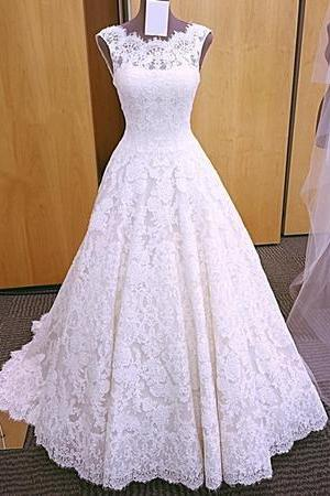 Vintage Cap Sleeves Open Back Lace Wedding Dresses 2018,W962