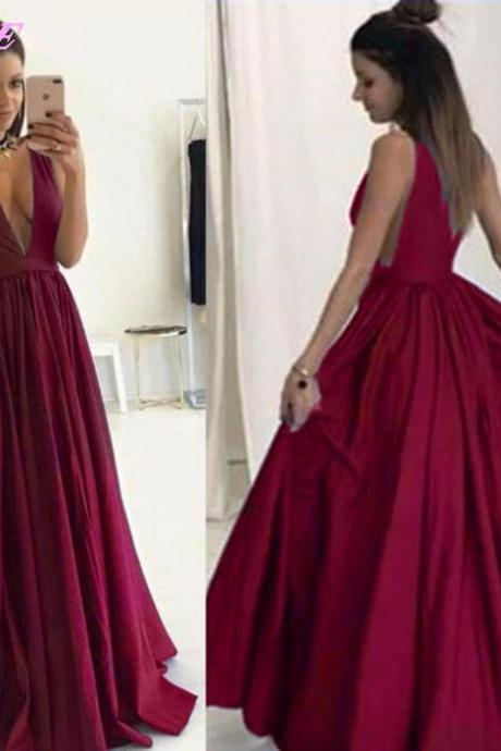 Wine Red Prom Dresses,Sexy Dresses,Deep V-Neck Dresses,Long Party Dresses,Runway Fashion Dress,Red Carpet Dress,Prom Gown,P997