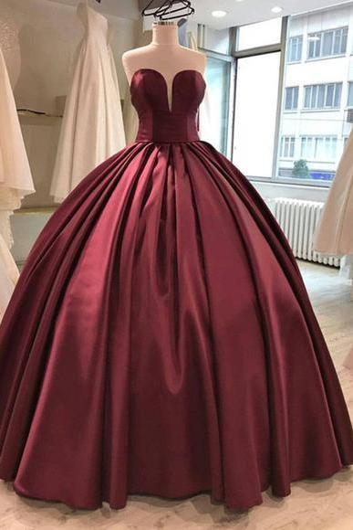 Burgundy Sweetheart Prom Dresses,Strapless Ball Gowns,P1005