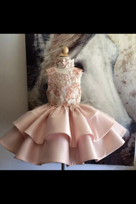 Round Neck Prom Dress, Flower Girl Dresses,Stain Prom Dress, Evening Dress Prom Gowns, Formal Prom Dress,FG
