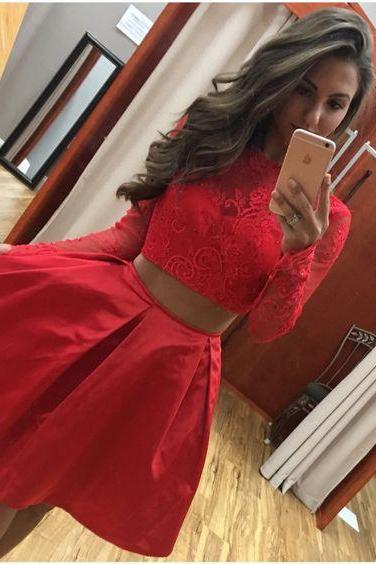 Two Piece Long Sleeves Short Red Lace Satin Homecoming Dress Girls Graduation Party Gowns,H1025