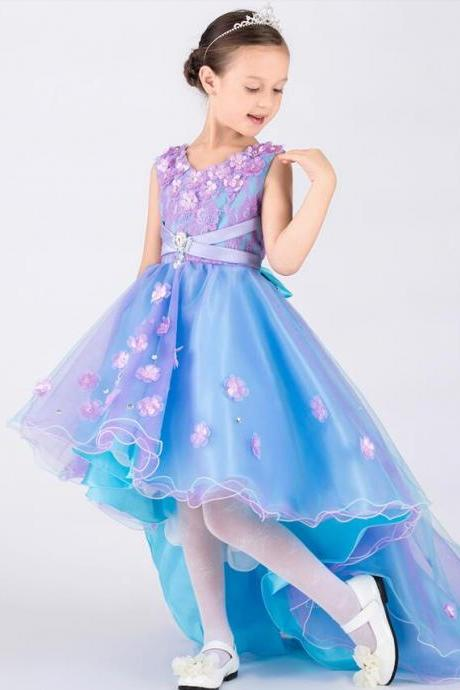 Purple and Blue Beautiful Girls Dresses A LineLong Front Short Back Lace Tulle Satin Flower Girl Dresses Little Girls Pageant Dresses With 3D Flowers,FG1027