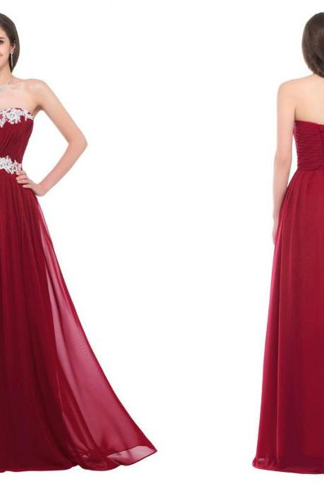Floor Length Chiffon Evening Dresses Prom Gowns with Applique,P1056