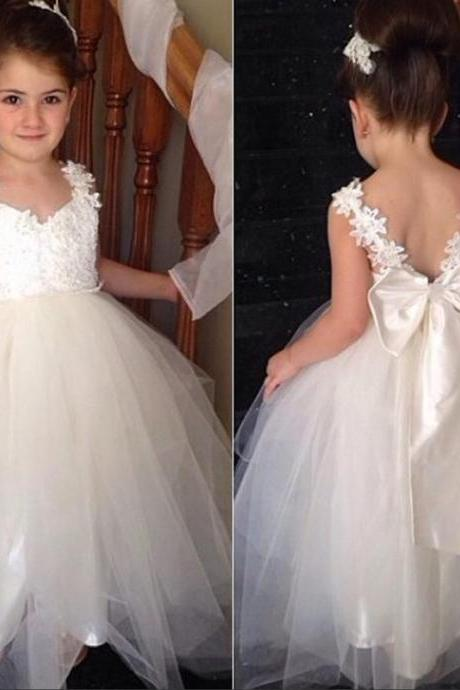 Cute tulle v neck open back ankle length 2016 sweet cheap flower girl dress with bowknot,FG1088