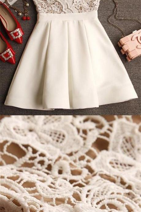 A-Line Spaghetti Straps Short Ivory Chiffon Homecoming Dress with Lace,H1094