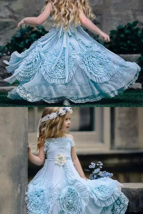 A-Line Spaghetti Straps Flower girl Dresses with Flowers Lace ,FG1097