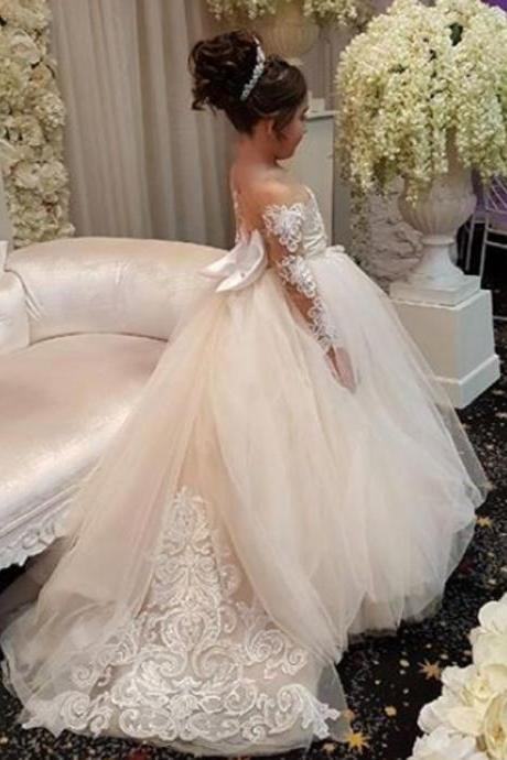 Long-Sleeve Lace Gown Romantic Ball 2018 Flower Girls Dresses ,FG1120