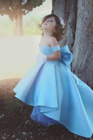 Lovely Bow Simple Blue Off-the-Shoulder Flower-Girls Dresses,FG1121