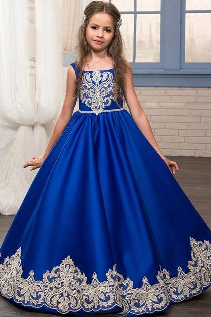 Blue Straps Royal Appliques A-Line Floor-length Flower Girl dresses,FG1122