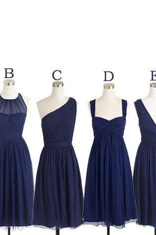 Short Bridesmaid Dresses Navy Blue Chiffon Bridesmaid Dress Mismatch Maid of Honor Dress Girls Group Dress in Knee Length,Simple Cheap Prom Dress,BD1125
