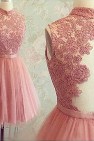 Short Tulle Prom Dresses,Mini Party Dresses,Short Homecoming Dresses,Appliques Graduation Dress,High Neck Sleeveless Prom Dress,Backless Peach Prom Dress,Short Prom Dress,Mini Homecoming Dress,H1130