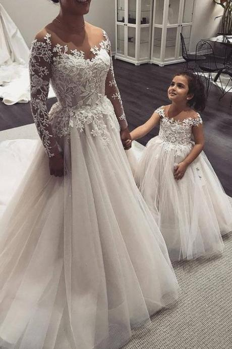 A-Line Illusion Neck Long Sleeves Tulle Wedding Dress with Appliques,P1149