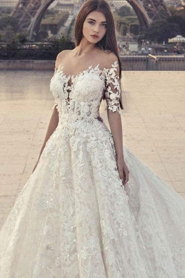 A-Line Jewel Chapel Train Half Sleeves White Lace Wedding Dress with Appliques Sequins,W1159