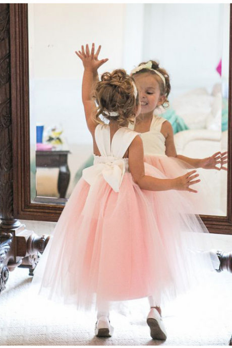 Adorable A-line Pink Long Tulle Flower Girl Dress,FG1183