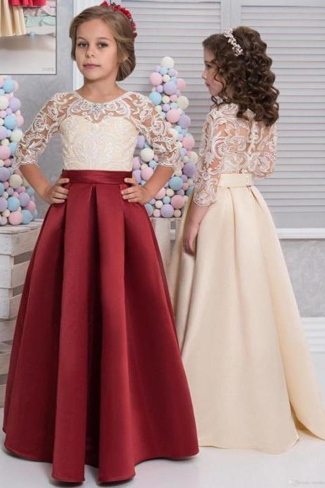 Vintage Arabic 2017 Flower Girl Dresses Half Sleeves Satin Child Dresses Beautiful Flower Girl Wedding Dresses,FG1189