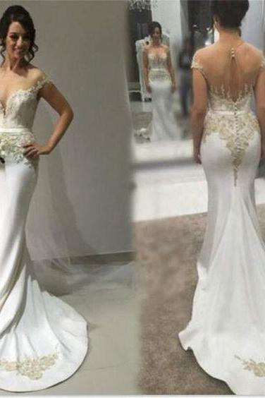 Sexy Bridal Dresses,Mermaid Wedding Dress,Sweetheart Wedding Gown,See-through Back Wedding Dresses,Formal Wedding Dresses,P1217