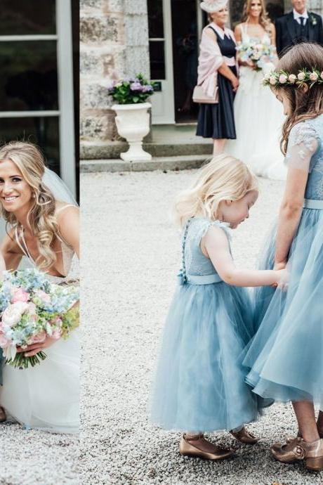 9b68df078 Blue Lace Top Tulle Flower Girl Dresses, Popular Cheap Junior Bridesmaid  Dresses,,FG1224