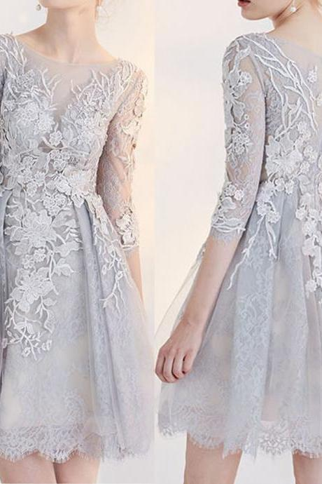 Elegant Light Grey Full Lace Appliques Half Sleeve Round Neck Homecoming Dresses,H1230