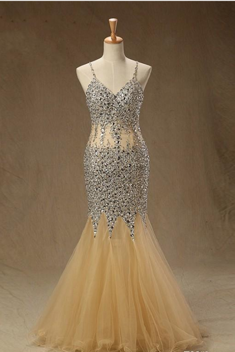 Sparkly Champagne Mermaid Cheap Prom Dresses with Bling Crystals Beaded Backless Long Tulle See Through Waist Sequin Beaded Evening Formal,P1354