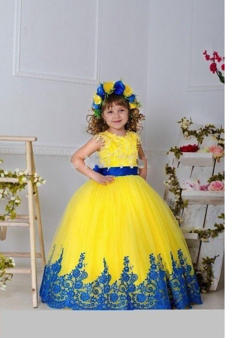 Yellow Girls Pageant Dresses Gowns Appliques Sash Bow Ball Gown Flower Girl Dresses For Wedding Floor Length Girls Birthday Princess Dress,FG1359