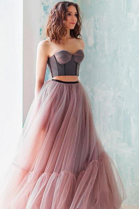 Two Pieces Sweet Heart Prom Dresses, Tulle Backless Prom Dresses, Prom Dresses ,P1366