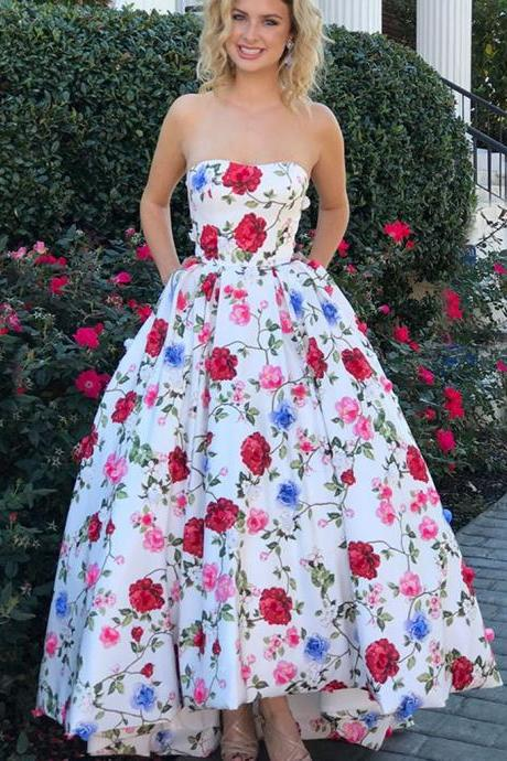 New Arrival Hi-Lo Prom Dress, Sweet Heart Printed Applique Prom Dress,P1371