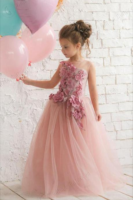 Blush Pink Flower Girl Dress - Birthday Wedding party Bridesmaid Holiday Blush Pink Tulle Dress Lace Flower Girl Dress 3D Flowers,FG1375