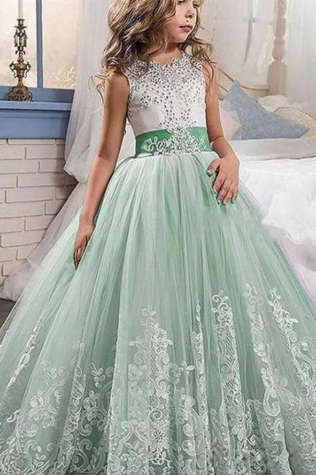 Ball Gown Jewel Sleeveless Lace Floor-Length Tulle Flower Girl Dresses,FG1376
