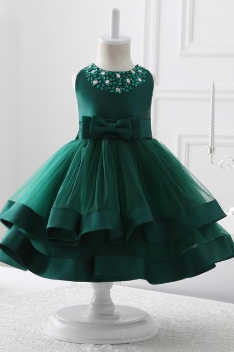2017 flower girl dresses green tulle flower girl dress communion dresses,FG1394