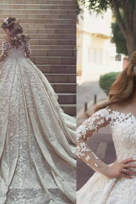 2018 New Gorgeous Sheer Neck Lace Wedding Dresses Long train Long Sleeves Crystals Ruffles Appliques Tulle Wedding Dresses,W