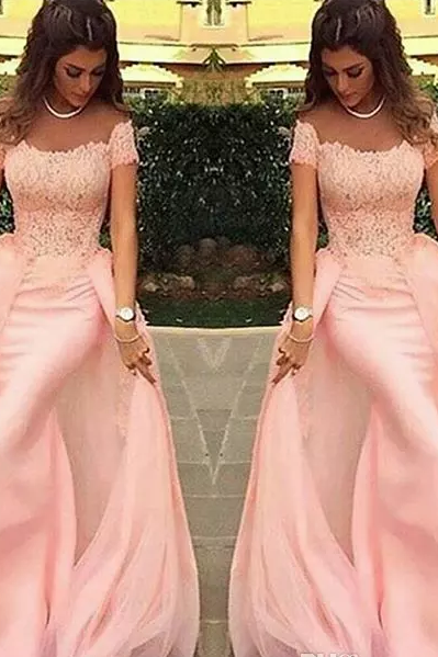 Long Evening Dresses 2017 Mermaid Lace Pink Formal Prom Dress Arabic Evening Gowns ,P1414