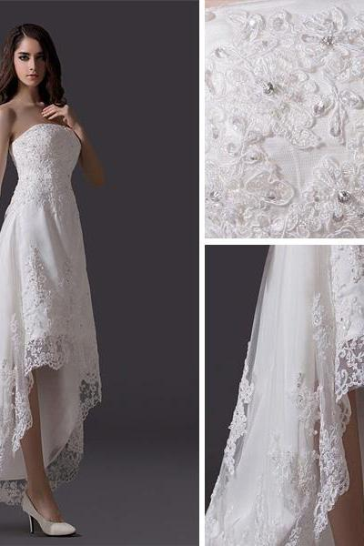 Classic Beading Rhinestone Embroidered Lace Tulle Short Beach Wedding Dress,W1426
