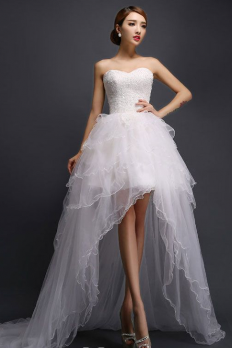 A-line Short & Mini Sweetheart Asymmetrical Tulle Wedding Dress,W1430
